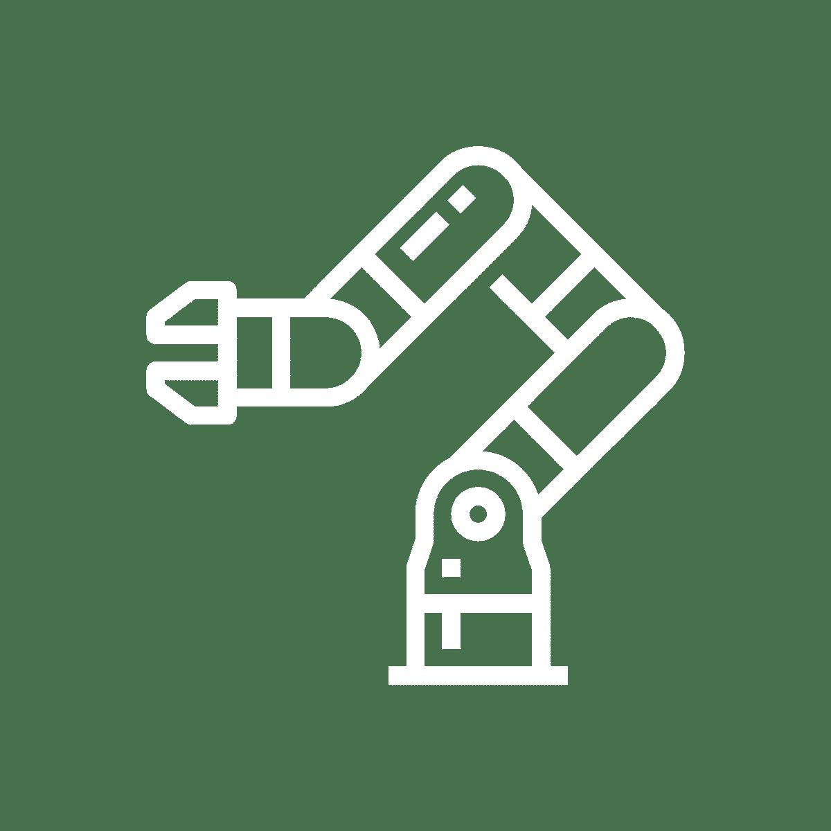 logo industrie bras mécanique contour blanc : Digitalisation des entreprises ITDM GROUP